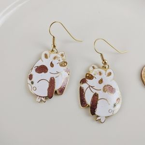 Vintage Cloisonne White Pink Pig Gold Earrings New